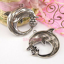 4Pcs Tibetan Silver Dolphin Charms Pendants 49x54mm A4332