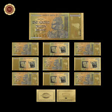 10pcs Zimbabwe 100 Trillion Dollars Banknotes Colorful 24k Gold Note Collectible