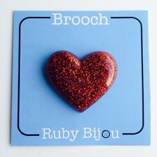 REAL GLITTER BROOCH - Quirky Resin Handmade Brooch Jewellery Heart Red Sparkle