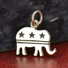 925 Sterling Silver Republican Elephant Charm - Political Right Wing Pendant NEW