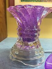 Electric Oil Warmer & Lamp Glass w/ Dimmer Switch Passionate Purple swirled base