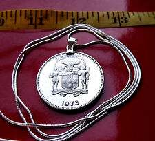 "Antique Mint Proof JAMAICA Coin on a 30"" 925 Sterling Silver Snake Chain"
