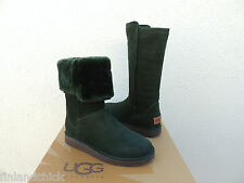 UGG COLLECTION ABREE VERDE GREEN SUEDE SHEARLING BOOTS, US 7/ EUR 38 ~NIB