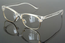 Fashion Transparent Clear Eyeglass Frame Half Rim Spectacles Glasses Rx able