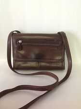 Fossil Genuine Leather Organizer Shoulder Bag Brown Designer  Fashion  Hip