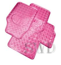 4pc Pretty Girly PINK Alloy Look THICK Plate Mat Set Metal Look Check Car Mats
