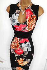 Black Muti Floral Galaxy Bodycon Wiggle Cocktail Evening Dress Size 8 10 BNWT