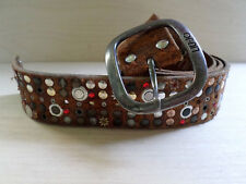 LIU JO studded distressed destroyed hand made leather Garrison jeans belt 32 34