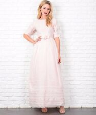 Vintage 50s 60s Light Pink Cocktail Party Dress Bow Lace Embroidery Full A Line