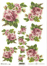 Rice Paper for Decoupage Scrapbooking, Pink Roses Flowers A4 ITD R222