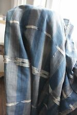Antique Ikat fabric French flamme 18th century indigo  panel cloth material old