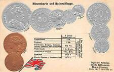 HONG KONG, CHINA, POSTCARD SHOWING EMBOSSED SILVER & COPPER COINS, c. 1904-14