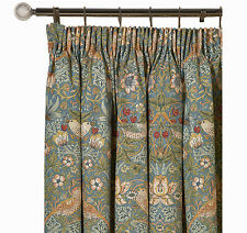 William Morris Strawberry Thief Slate Pair Lined Curtains 190 cm x 137 cm