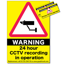 CCTV Stickers Pack of 3 Warning Stickers for Vans / Lorry Wagons / HGV's / Truck