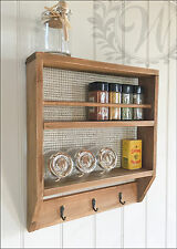 Wooden Wall Shelf Metal Hooks Rustic Natural Unit Vintage Storage Spice Rack