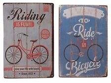 2 X Ride My Bicycle Bike Funny Tin Sign Set Bar Garage Wall Decor Retro Metal