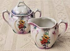 VINTAGE EARLY 20th CENTURY HAND PAINTED PORCELAIN CREAMER & SUGAR BOWL - GERMANY