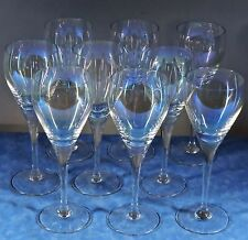 "9 BOHEMIA Crystal BOC168 Iridescent 7"" Red Wine Goblets- 1970s- Minty"