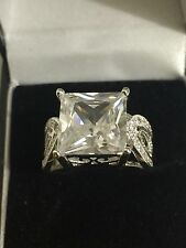 WOMENS WHITE SAPPHIRE STYLE DRESS RING UK Q US 8 SWA CRYSTALS SILVER 925 NEW