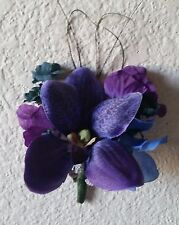 Peacock Royal Blue Purple Orchid Boutonniere