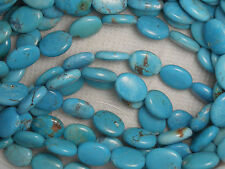 """Turquoise 12mm X 16mm Oval Beads Natural Blue Colors 16"""" Std Craft Jewelry # 936"""