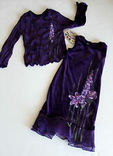 Boutique Balu Hand Painted Dress Girl 4 Maxi Top Set Purple Thanksgiving