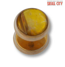 YELLOW JADE GOLD GEMSTONE FAKEPLUG - Fake Piercing Stone Plug Ohrstecker Stein