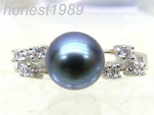 Genuine 7mm AAA+++ perfect round black blue south sea pearl ring 925 silver gift