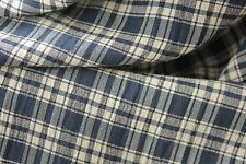 Vintage Rayon Blue check French fabric material c 1940's clothing curtains plaid