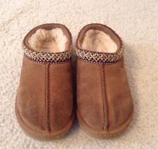 VGC! Juniors Ugg Brown Suede Fur Lined Slippers Sz 9