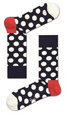 Happy Socks Navy With White Big Dot Socks UK Size 4 - 7  Unisex Ladies Socks