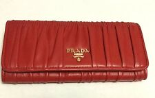 100% Authentic PRADA NEW 1M1132 RED ROSSO GAUFRE SOFT LEATHER WALLET STUNNING!
