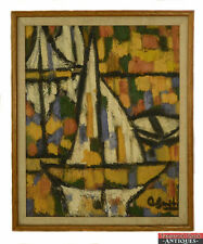 Original Signed C. Smith Frame Thick Texture Abstract Sailboats Oil Painting L8X