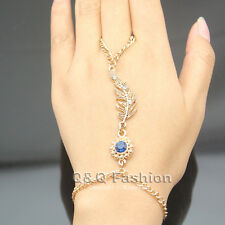 Bridal Gold Leaf Sapphire Crystal Bracelet Slave Chain Hand Harness Finger Ring
