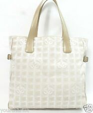 Auth CHANEL CC Pink Canvas Leather Travel Shopping TOTE Purse Handbag Shoulder L