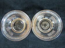 Vtg Pink Clear Glass Small Berry Fruit Bowls Floral Haystack Bee Hive Set of 2