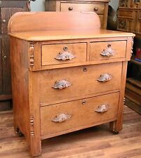 Beautiful Antique Wash Stand with Carved Pulls, Dove-Tailed Drawers & Backsplash