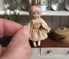 Tiny Blonde Porcelain Bisque Victorian Dolls' Doll Toy - Dollhouse Miniature