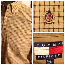 Vtg  90s Tommy Hilfiger Checked Oxford Button Down Shirt Lion Crest Logo Mens L