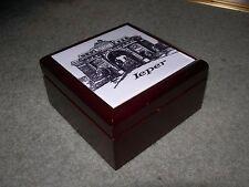 IEPER YPRES MENIN GATE WOODEN TRINKET JEWELLERY BOX ~ Porcelain Tile Picture