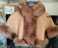 CAMEL KIDS GIRL LONG FLUFFY FAUX FUR HOODED WINTER CAPE COAT PONCHO SZ S 2-4 YRS