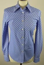 Premium women's Jaeger oxford blue striped long sleeved shirt size 8 34""