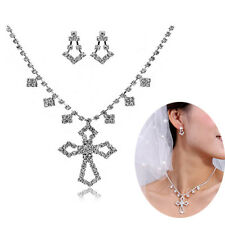 Alloy Silver Plated Rhinestone Cross Necklace, Earrings Bridal Prom Jewelry Set