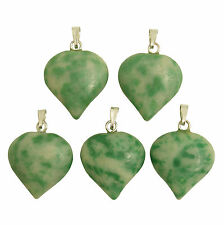 5 x GREEN JADE Gemstone PUFF HEART Charm Pendants 18mm