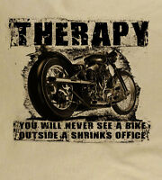 Therapy Cafe Racer Retro Motorcycle Classic Vintage Biker Natural T-Shirt