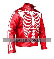 Men Red Skeleton Leather Jacket