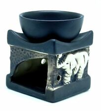 Black Ceramic Square Elephant Design Tart Candle Oil Warmer Burner MY-2933