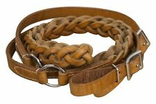 Argentina Cow Leather 7' Contest Reins Braided Center Roping Rein NEW TACK