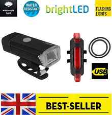 front aluminium case + rear USB bike lights - powerful white red led Cree light
