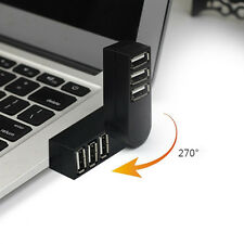 3 Port Mini USB 2.0 Rotating Splitter Adapter Hub For PC Laptop Easy to Use Hot
